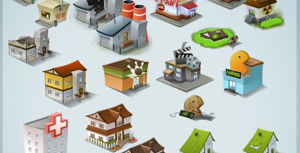 Modern Stylised Building Icon Pack (64 items)