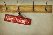 Holiday sign on antique plaster wall
