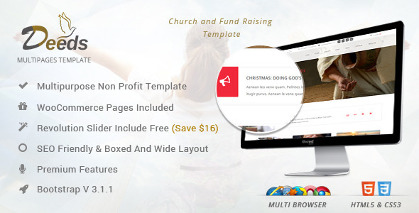 Deeds - Simple Nonprofit Church Website Template by webinane ...