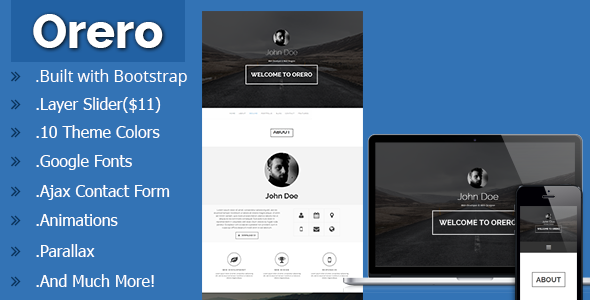 Orero responsive one page vcard template by maxdp themeforest orero responsive one page vcard template virtual business card personal cheaphphosting Gallery