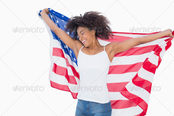 photos of girls jumping wrapped in american flag № 13388
