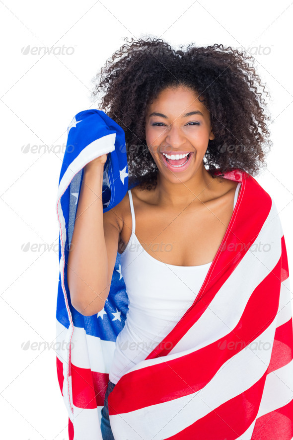 photos of girls jumping wrapped in american flag № 13404