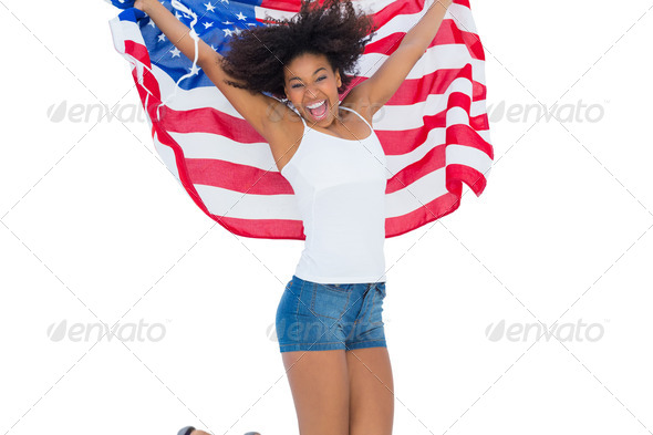 photos of girls jumping wrapped in american flag № 13370