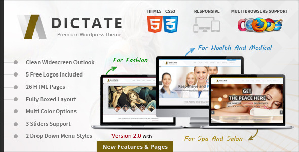 Dictate- Medical, Salon and Fashion HTML5 Template by webinane ...