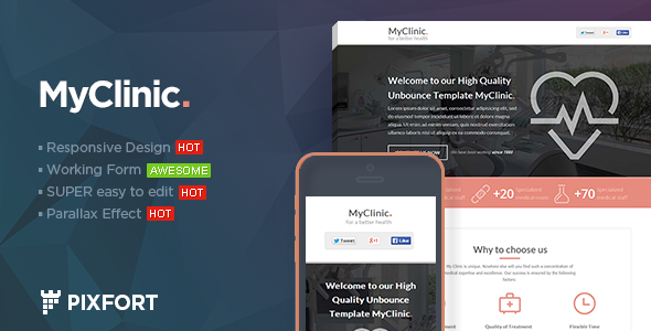 MyClinic Medical HTML Landing Page By PixFort ThemeForest - Medical landing page template