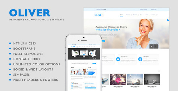 Oliver html5 multipurpose template by nunforest themeforest oliver html5 multipurpose template corporate site templates accmission