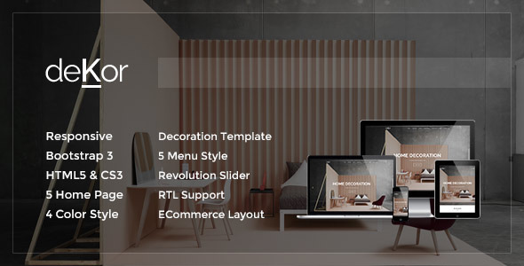 deKor Responsive Interior HTML Template by plazart ThemeForest