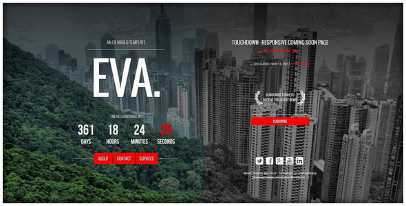 Eva responsive coming soon page by ex nihilo themeforest responsive coming soon page under construction specialty pages maxwellsz