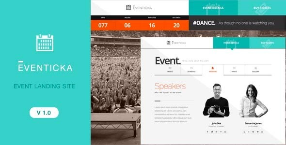Eventicka event landing page ticketing by quadcodes themeforest pronofoot35fo Image collections