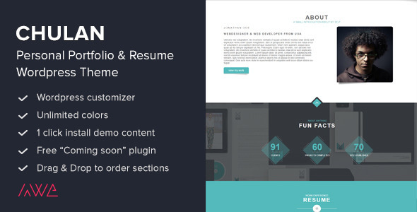 chulan personal portfolio resume theme portfolio creative - Wordpress Resume Template