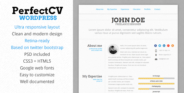perfectcv responsive cv resume theme by pixeldizajn themeforest - Wordpress Resume Template