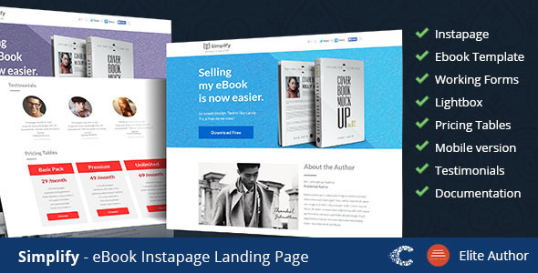 Simplify - eBook Instapage Landing Page Templates by CoralixThemes