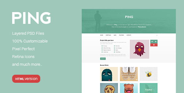 Ping - Minimal Responsive HTML Template by PremiumLayers | ThemeForest