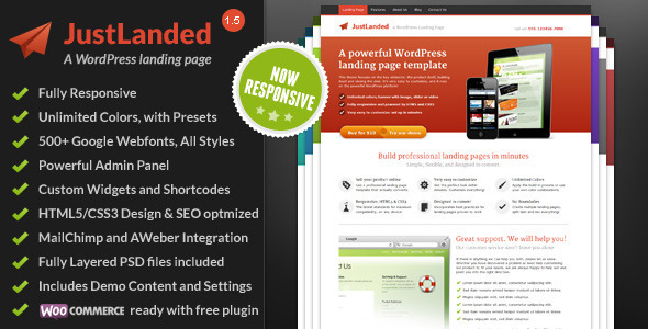 JustLanded WordPress Landing Page By ShapingRain ThemeForest - Squeeze page templates wordpress