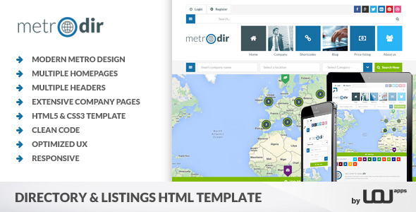 metrodir directory listings html template by directorythemes