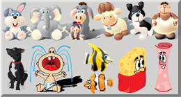 Collection of cute vector cartoon style Characters and Animals.
