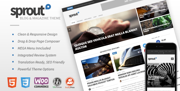 Sprout - Clean Blog/News/Magazine Responsive Theme by envirra ...