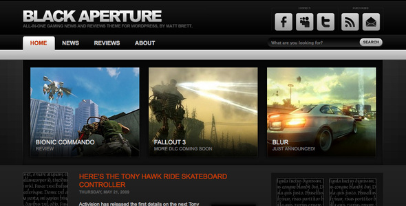 Theme Forest: Black Aperture – WordPress Theme