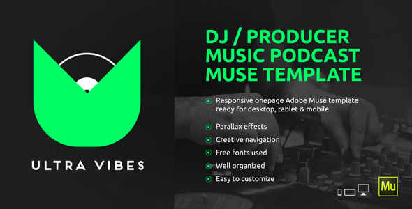Ultra Vibes DJ Producer Podcast Muse Template By Vinyljunkie - Podcast website template
