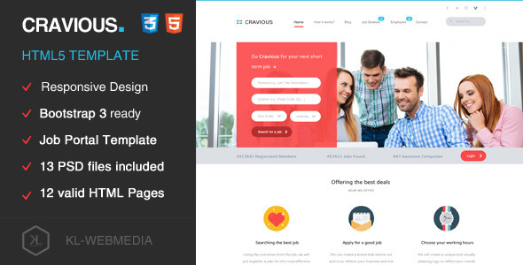 job portal website html template  Cravious - Job Portal HTML5 Template by KL-Webmedia | ThemeForest