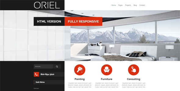 ORIEL Responsive Interior Design HTML48 Template By Egemenerd Custom Interior Design Web Templates
