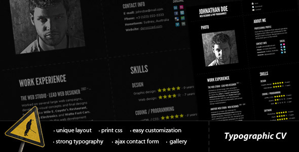 Typographic CV professional website template