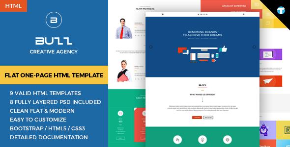 buzz flat responsive onepage html site template by trendingtemplates
