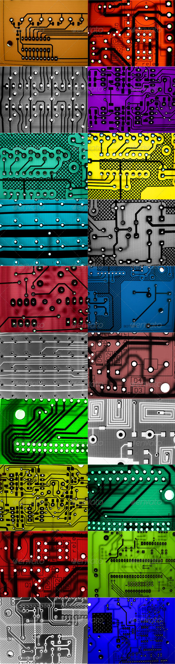 20 electronic circuit board backgrounds. Suitable for design backgrounds,