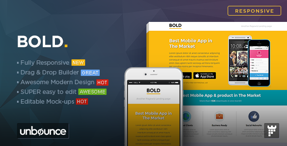 BOLD - Unbounce App Landing Page Template by PixFort | ThemeForest
