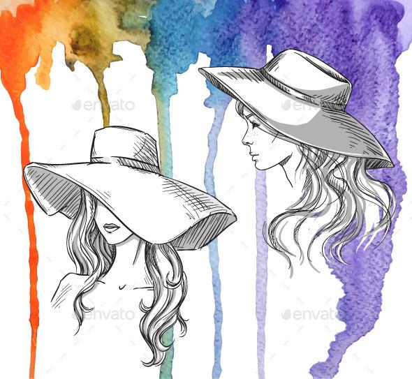 Шляпа рисунок акварелью