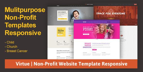 virtue non profit website template responsive by jitu themeforest