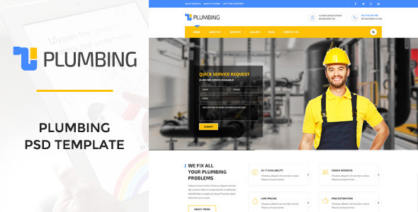 Plumbing - Handy Man, Plumber PSD Template by WPmines | ThemeForest