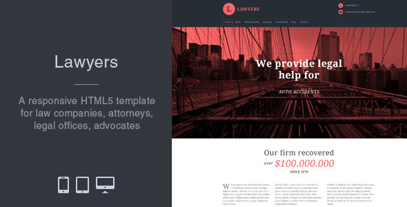 Lawyers - Responsive Business HTML5 Template by matchthemes ...
