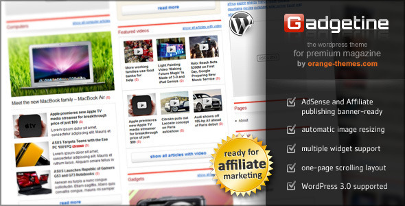 Gadgetine Themeforest Wordpress Temas