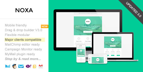 Noxa Responsive Email With Template Builder By Saputrad ThemeForest - Drag and drop mailchimp templates