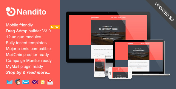 Nandito Flat Responsive Email Template By Saputrad ThemeForest - Drag and drop mailchimp templates