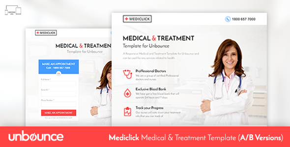 Unbounce Medical Landing Page Template Mediclick By Surjithctly - Medical landing page template