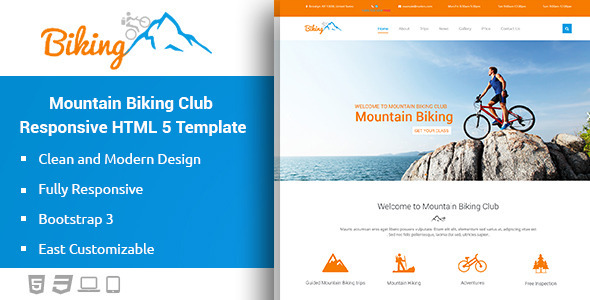 Download Biking - Mountain Bikes Responsive HTML Template HTML Template