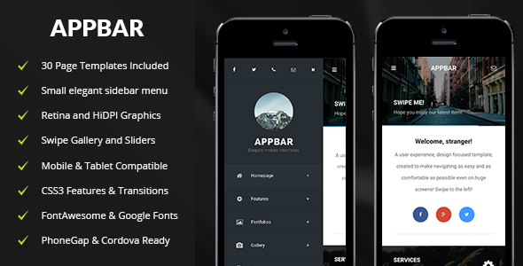 appbar mobile mobile template by enabled themeforest
