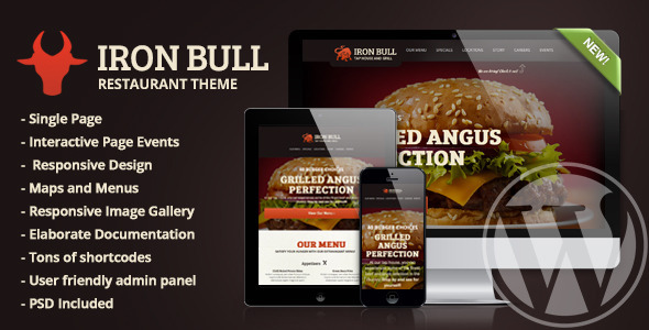 Iron Bull Restaurant Wordpress Theme By Wrwipeout ThemeForest - Restaurant template wordpress