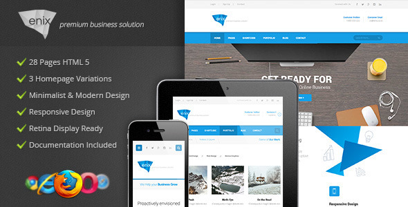 Enix - Modern Corporate HTML Template by Indonez | ThemeForest