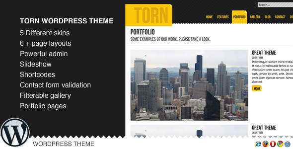 Torn WordPress (Portfolio) - WordPress Themes for Sale