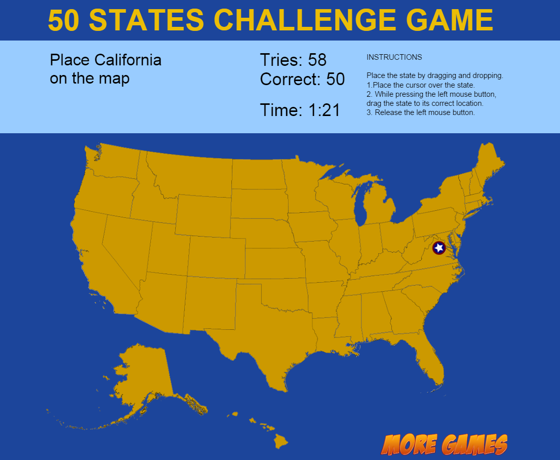 United States Map Game 50 States Challenge By Dexterfly