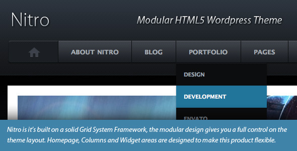 Nitro Modular HTML5 WordPress Theme for Sale