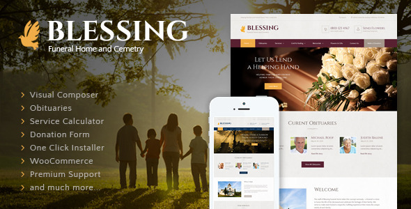 Blessing | Funeral Home WordPress Theme   Business Corporate