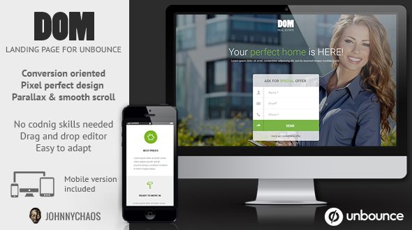 DOM - Real Estate Unbounce Landing Page by johnnychaos | ThemeForest
