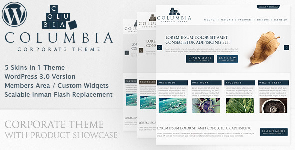 Columbia Corporate  - WordPress Theme for Sale