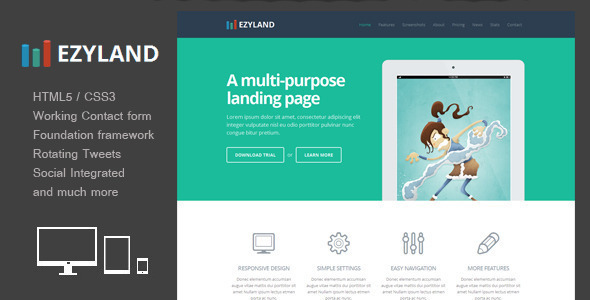 Ezyland Responsive Multipurpose Landing Page By ThemeExpress - Splash website templates
