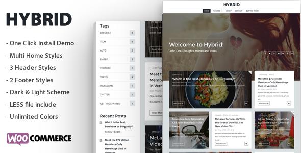 Hybrid - Clean & Modern WordPress Blog Theme by sunflowertheme ...