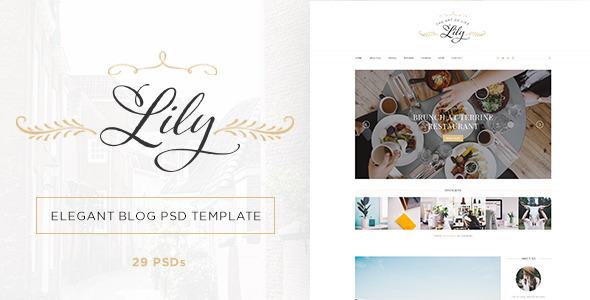 lily elegant blog psd template by themesun themeforest